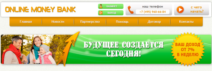 Online Money Bank  - onlinemoneybank.org до 11% в неделю до 30% реф с дохода Lr,Pm Logo